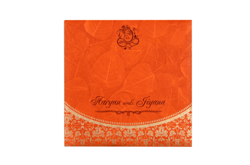 Budget Hindu Wedding Card RB 1459 ORANGE
