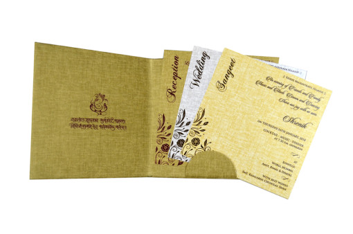 Padded Wedding Card RB 1509 GOLDEN