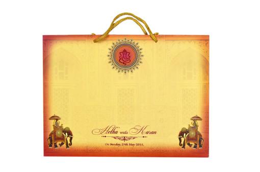 Royal Elephant Theme Wedding Card RB 1534