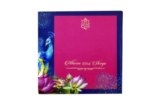 Velvet Cloth Peacock Theme Wedding Card RB 1552