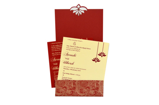 Lasercut Budget Wedding Card RB 1559 RED