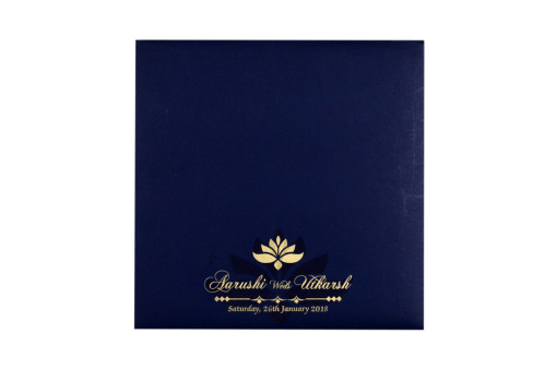 Lasercut Budget Wedding Card RB 1562 BLUE