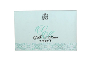 Lasercut Padded Wedding Card RB 1563 BLUE