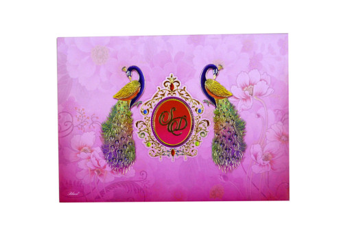Peacock Theme Wedding Card RB 1569