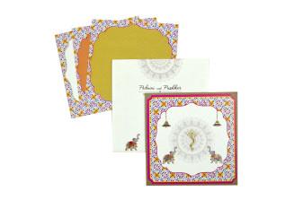 Elephant Theme Hindu Wedding Card RN 2203