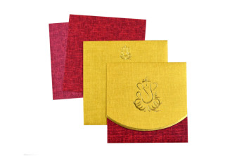 Hindu Budget Wedding Card RN 2223 GOLDEN