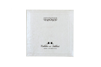 White Padded Wedding Card RN 2234 CREAM