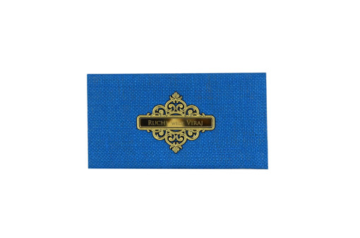 Small Size Blue Jute Padded Wedding Card RN 2236