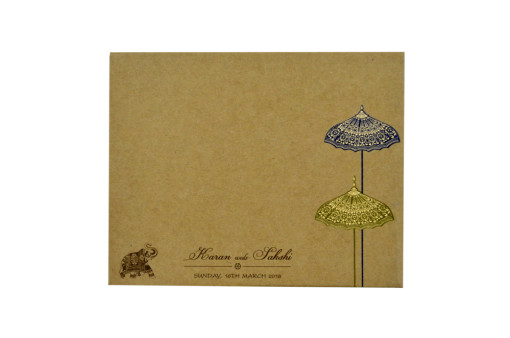 Elephant and Floral Theme Laser Cut Wooden Wedding Card RN 2257